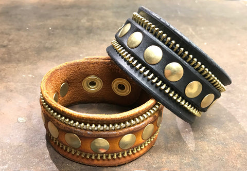 Black and brown zipper rivet cuff bracelets