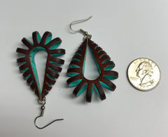 Katy style earrings dark brown and turquoise