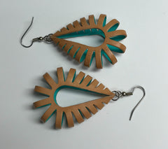 Katy style leather earrings natural brown outside turquoise inside