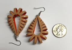 Katy style leather earrings natural light brown on the outside and orange on the inside