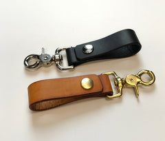 Brown and black leather key chain