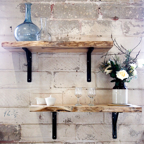 LIVE-EDGE BLUE PINE SHELVING