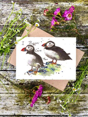 Plantable Wildflower Cards: I Puffin Love You