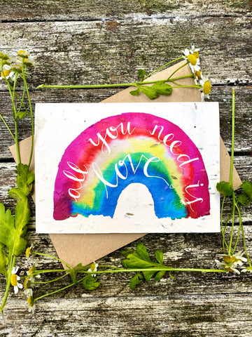 Plantable Wildflower Cards: Rainbow- All You Need is Love
