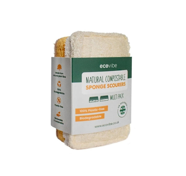 Compostable Biodegradable Eco Cleaning Sponge & Scourer Duo