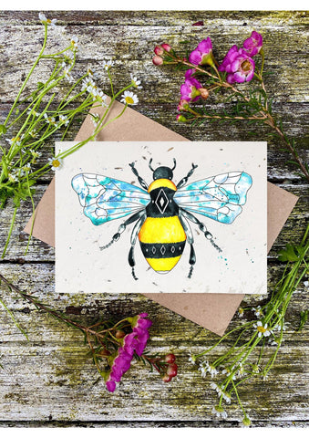 Plantable Wildflower Cards: Geometric Bee