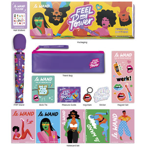 Le Wand Feel My Power Rechargeable vibrator with 9-piece accessories set, a collaboration with New York artist Jade Purple Brown - Sex Siopa, Ireland's Best Sex Toys and Accessories