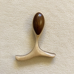 Birds eye view of the two-toned Lumberjill Leisurecrafts Cinch handcarved wooden butt plug with ergonomic handle - Sex Siopa, Ireland's best sex toys and lubricants