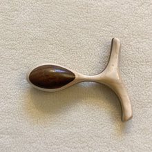 Load image into Gallery viewer, Overhead view of the Cinch Butt plug made with scandinavian style two-tone wood by Lumberjill Leisurecrafts - Sex Siopa, Ireland's best sex toys and lubricants