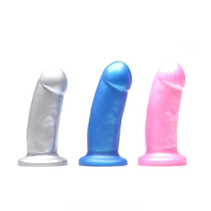 Tantus They Them girthy silicone dildo in three colours - Silver, Blue, and Pink. Sex Siopa is Ireland's best sex toy and accessories boutique.