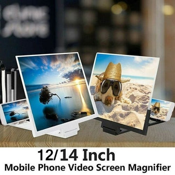 [12/14-inch] 3D HD Mobile Phone Screen Magnifier Amplifier,with Foldable Holder Stand,Portable Universal 3D Video Magnification Smartphone Screen Magnifier Amplifier, Verstärker, Amplificador
