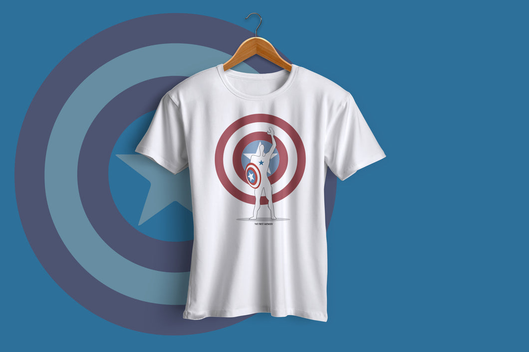 Captain America - Half Sleeve T-Shirt(White)