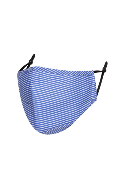 Blue and White Stripped Polycotton Breathable Face Mask