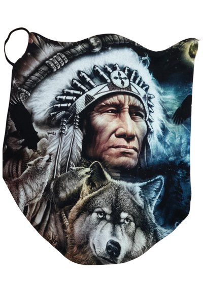 Native Chief and Wolf Design Breathable Neck Buff Face Mask
