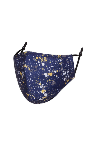 Navy Paint Splatter Detail Polycotton Breathable Face Mask