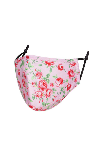 Pink With Rose Design Polycotton Breathable Face Mask