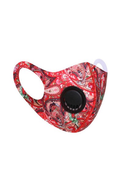 Red Paisley Polyester Breathable Face Mask with Vent