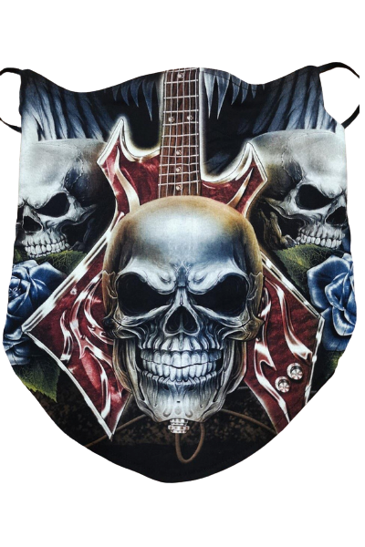 Skull and Guitar Pattern Breathable Neck Buff Face Mask