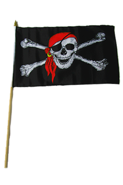 Skull and Crossbones Large Hand Flag