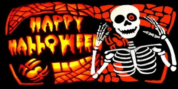 5ft x 3ft Happy Halloween Skeleton Flag