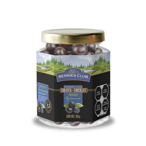 frasco de cristal que contiene blueberry acai chocolate