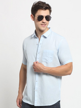 Men Blue Shirt Collar Solid Shirt