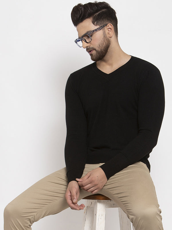 Men Black Solid V-Neck Pullover