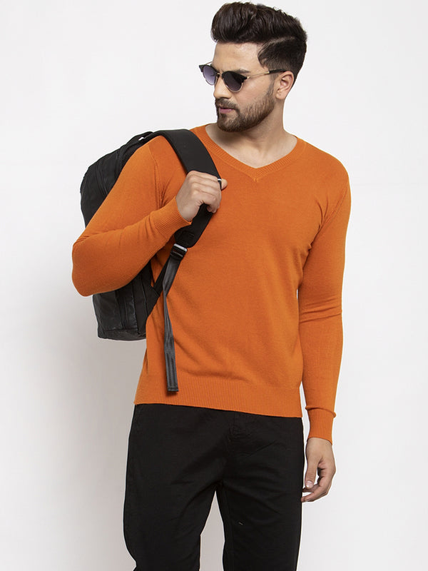 Men Rust Solid V-Neck Pullover