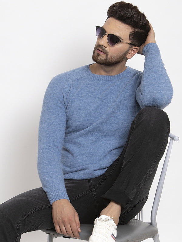 Mens Blue Round Neck Solid Alpaca Wool Pullover
