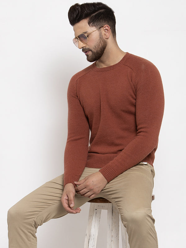 Mens Rust Round Neck Solid Alpaca Wool Pullover