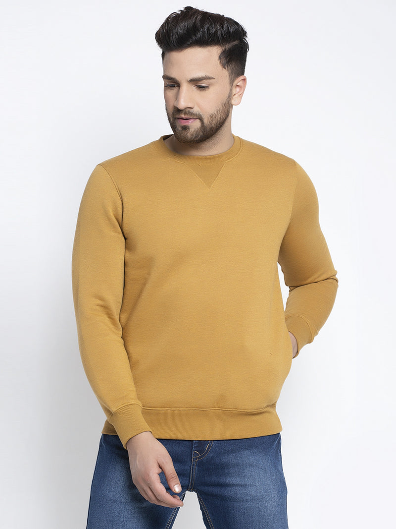 Men Solid Mustard Round Neck Sweatshirt