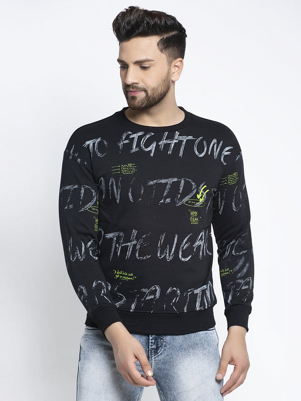 Men Full Print Black Round Neck Sweatshirt