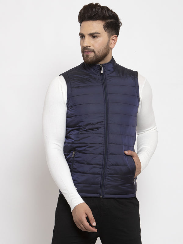 Mens Navy Blue and Grey Reversible Solid Jacket