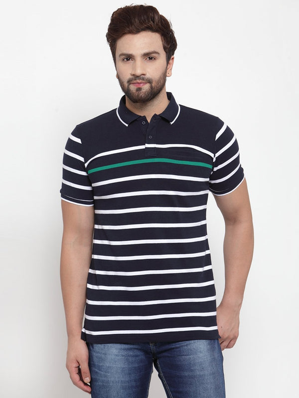 Mens Navy Blue Shirt Collar Striped T-Shirt