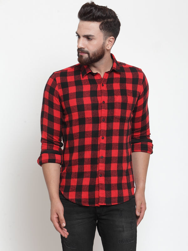 Men Red Shirt Collar Checked Shirt