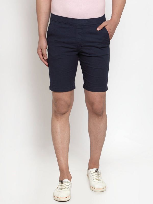 Men'S Navy Blue Cotton Linen Shorts