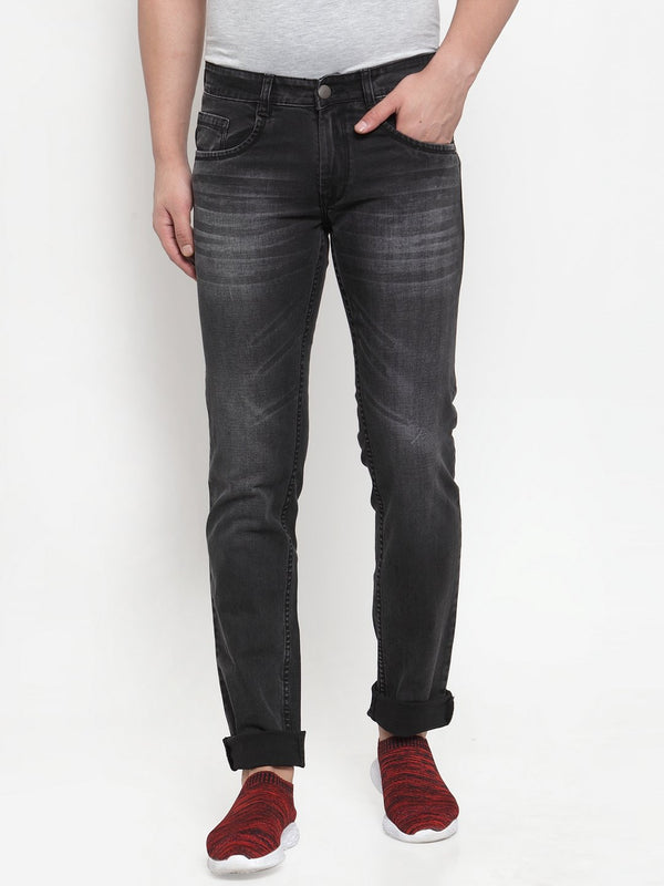 Men Black Washed Regular Fitted Jeans