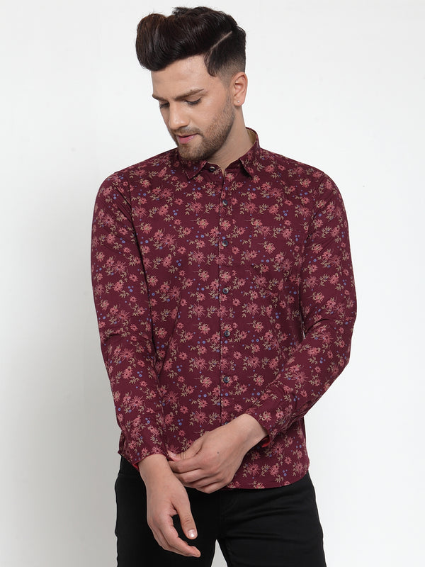 Mens Maroon Shirt Collar Printed Shirt