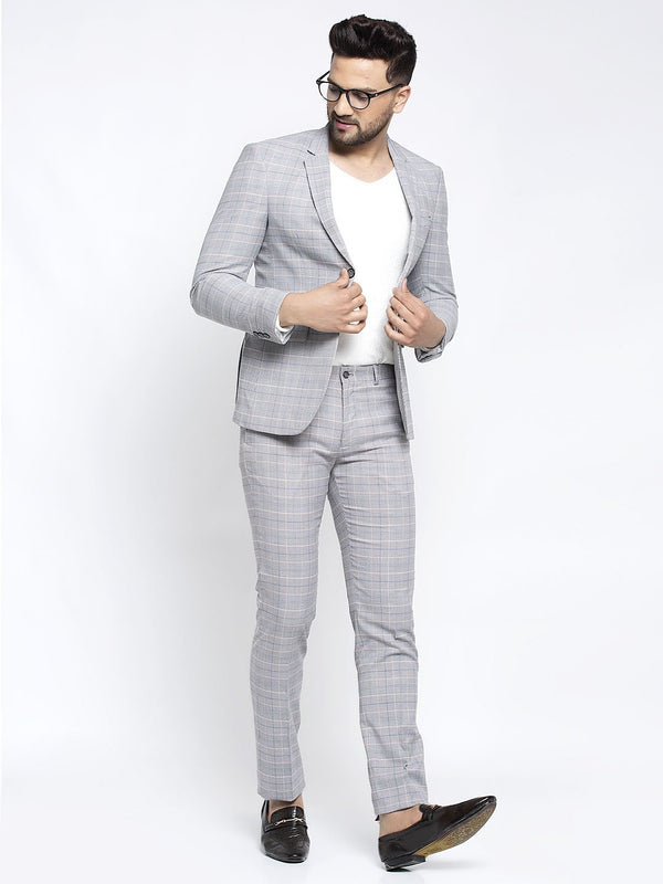 Men Grey Checked 2-Piece Suit