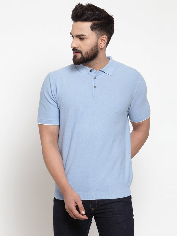 Men's Sky Blue Collar Regular Fit T-Shirt