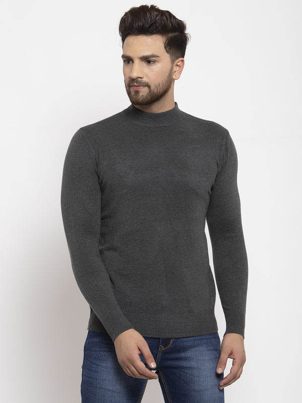 Men Grey Solid T-Neck Pullover
