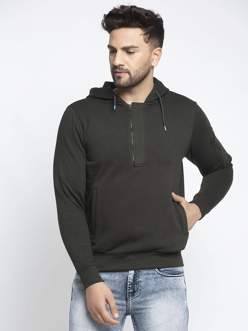 Men Green Hooded Solid Sweatshirt