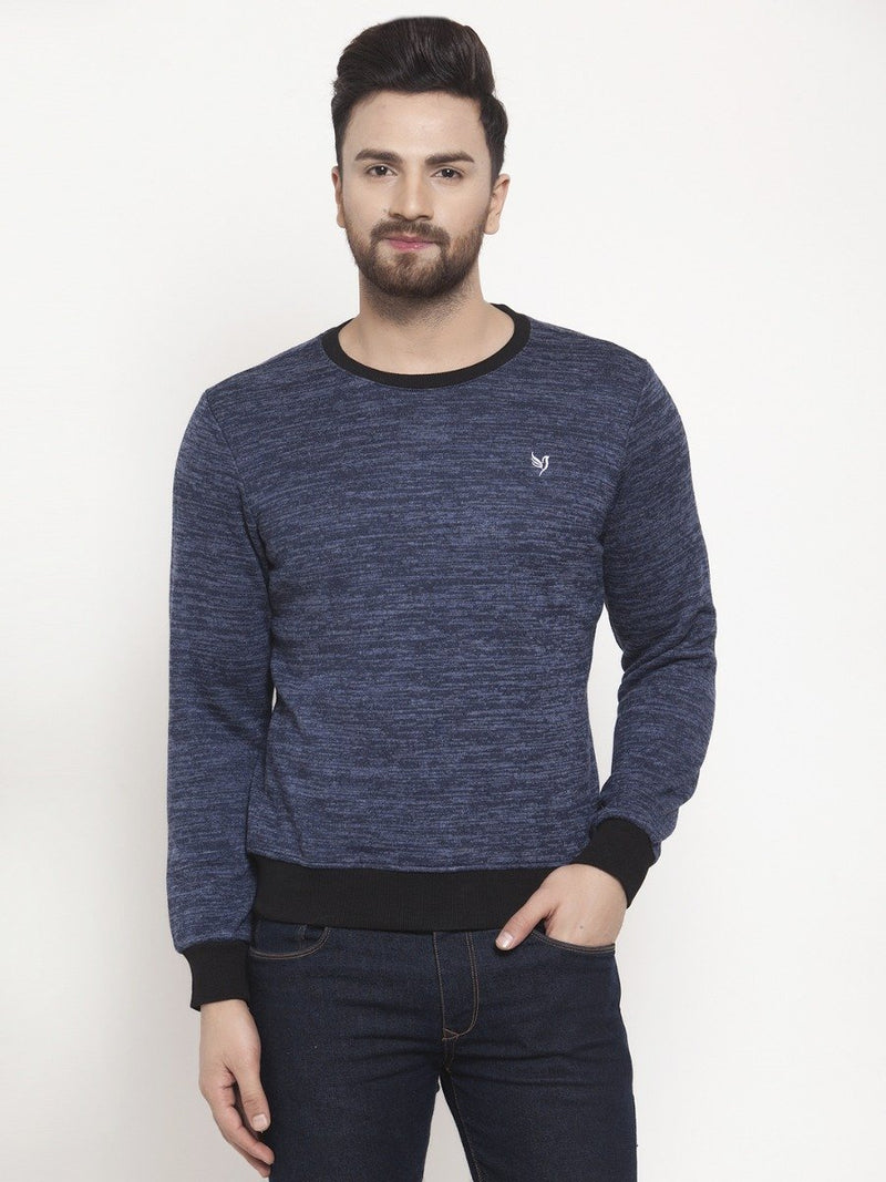 Mens Blue Round Neck Sweat Shirt