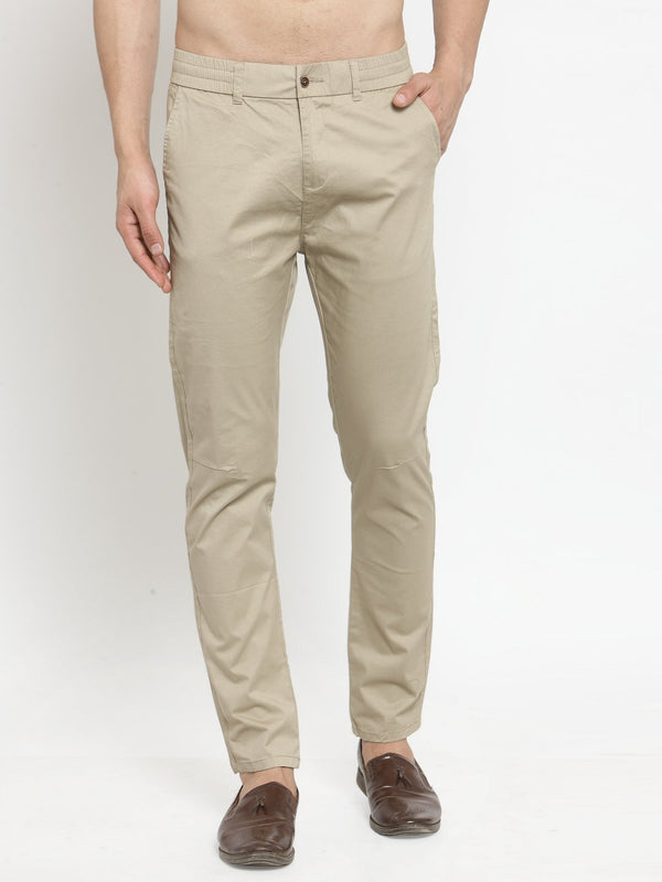 Mens Khaki Solid Regular Fit Trouser