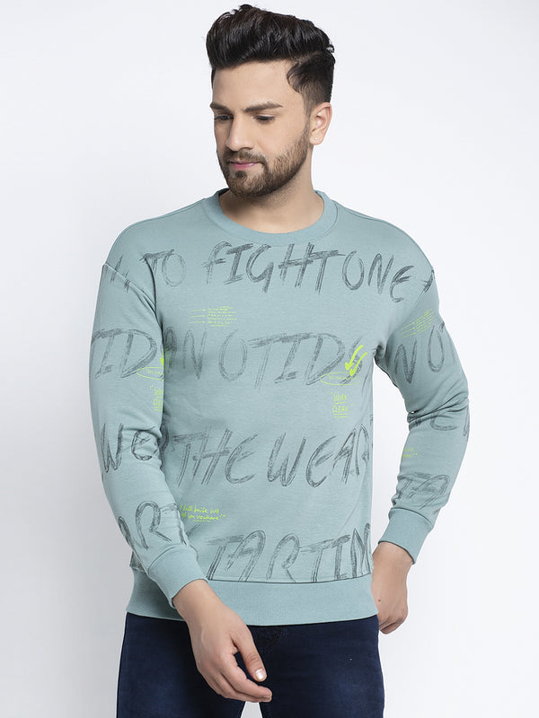 Men Full Print Blue Round Neck Sweatshirt