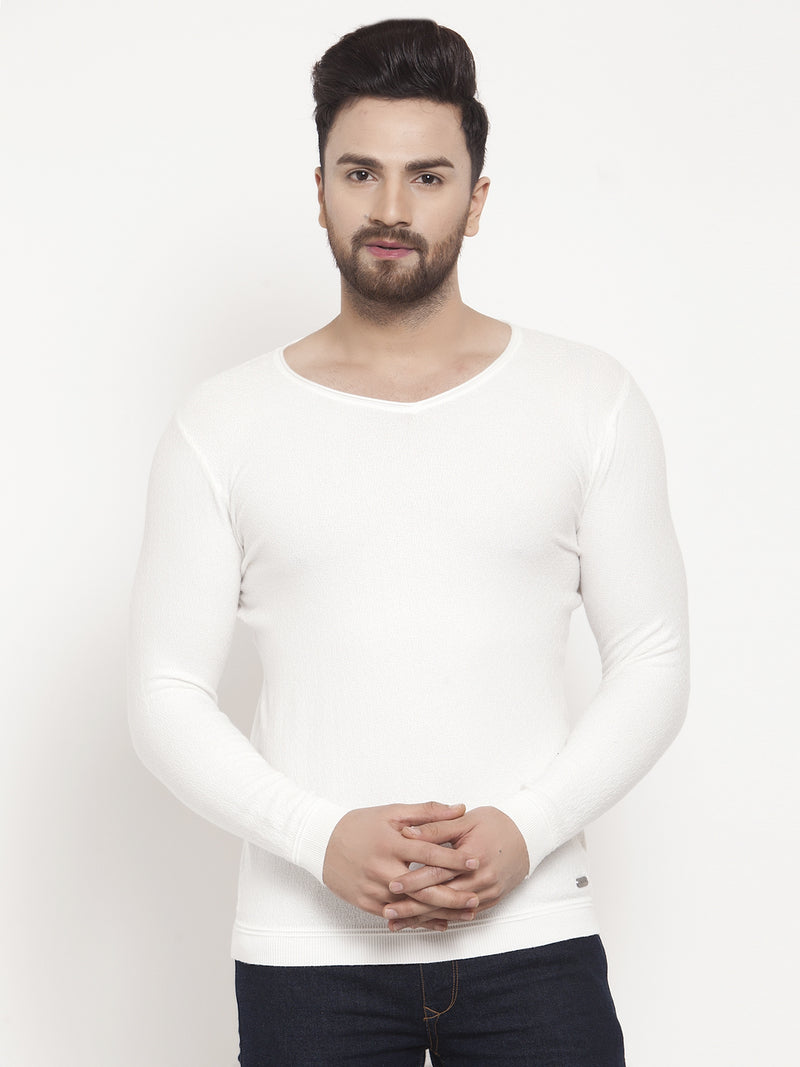 Men White V-Neck Pullover
