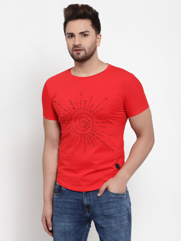 Mens Red Hosiery Printed T-Shirt
