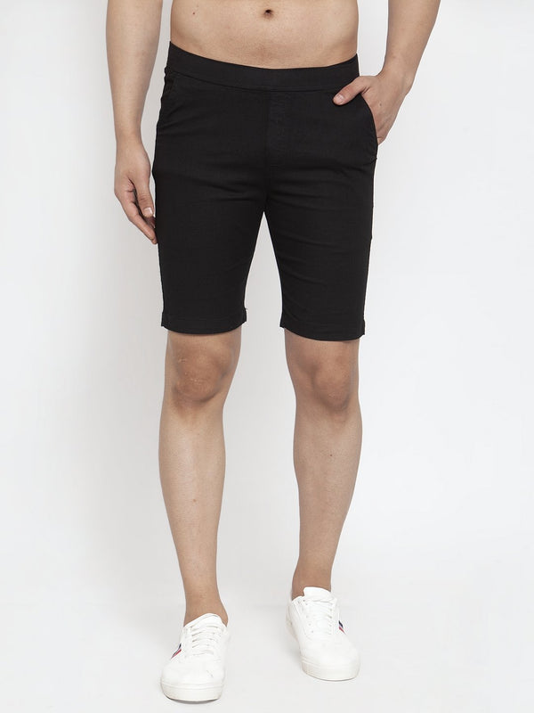 Mens Black Cotton Linen Shorts