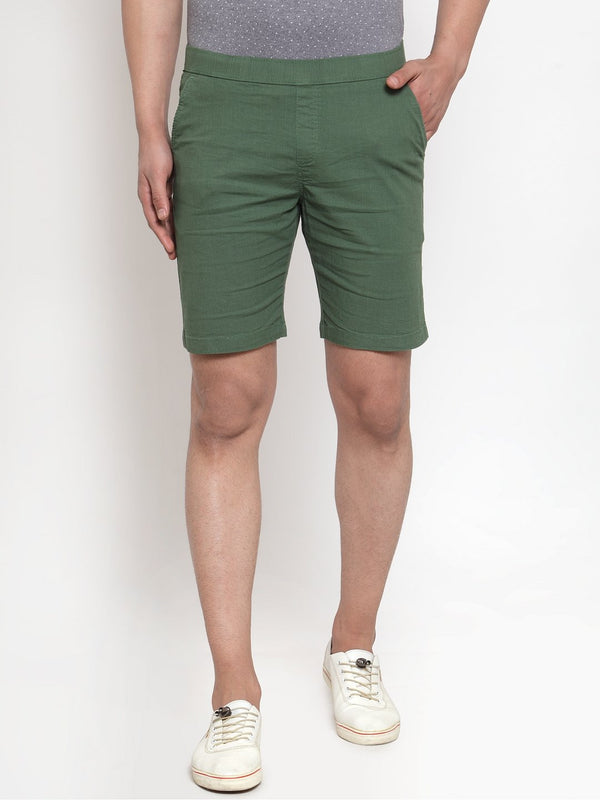 Men'S Green Cotton Linen Shorts