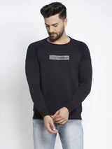 "Men Navy Blue Round Neck ""Stay Humble"" Sweatshirt"